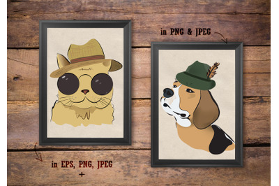 Animal Set of Brown John Lennon cat and Beagle Hunter Dog.