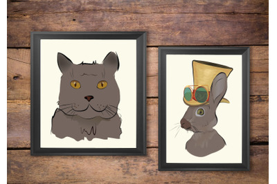 Illustrations of a Grey Cat and Steampunk Style Rabbit with Hat and Gl