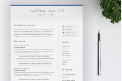 Resume Templare   4 Pages   Cover Letter   CV Design
