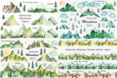 Big Set of Watercolor Mountains Clipart, PNG, Watercolour Mountain