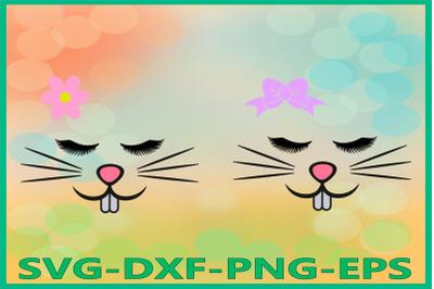 Bunny Girl Face, Easter Bunny, Bunny eyelashes, Rabbits Clipart