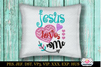 Jesus loves me Embroidery Applique Design, Christian design dst, exp,