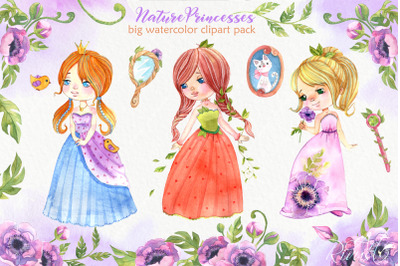 Watercolor Princess clipart. Cute fairytale, queen, fairy. Mirror, ane