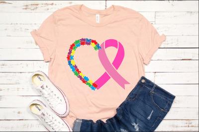 Autism Heart Ribbon Puzzle Awareness SVG 1350s