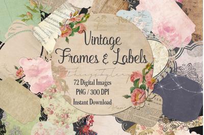 72 Antique Shabby Chic Vintage Ephemera Label Frames Images