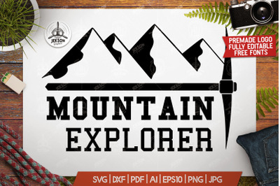 Mountain Logo / Retro Adventure Label Templates SVG File