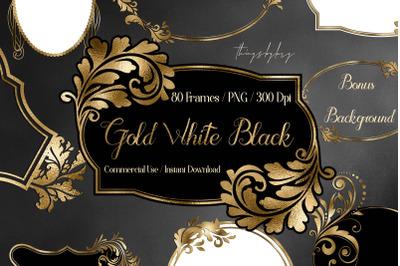 80 Luxury Gold, Black, White Antique Royal Labels Frames