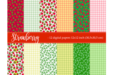 Strawberry and checkered digital paper
