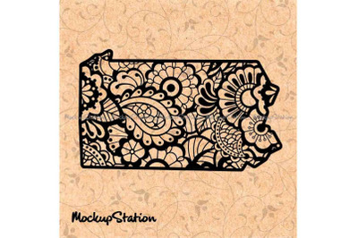 Pennsylvania Mandala SVG, PA Floral Paisley PNG, Boho Decor Cut File