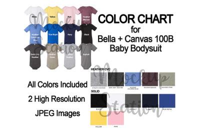 Color Chart for Bella Canvas 100B Baby Bodysuit Mockup, Baby One Piece