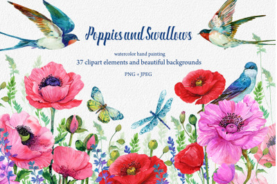 Red Poppies, flowers Clipart, Bird, Butterfly, Dragonfly, Flower Backg