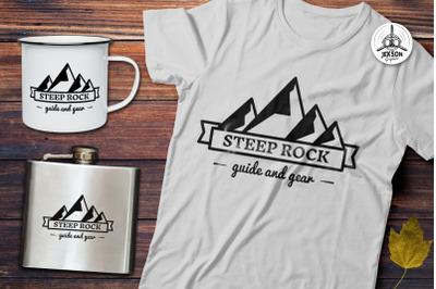 Mountain Vector Logo, Retro Camping Badge Template SVG File