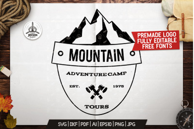 Retro Camping Insignia, Mountain Vector Logo Label SVG File