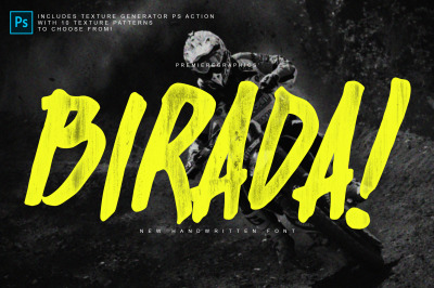 Birada! Font + Photoshop Action
