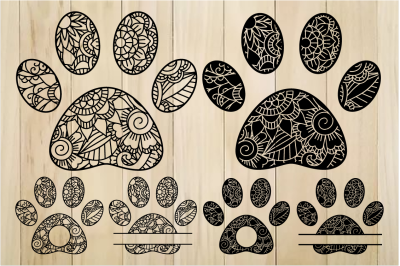 Zentangle Paws SVG, Paw Monogram Frames, Mandala Paw SVG