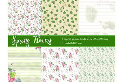 Floral digital paper and cards for journaling