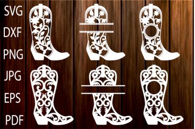 Cowgirl Boots SVG, Cowboy Boots Monogram Frames, Western SVG