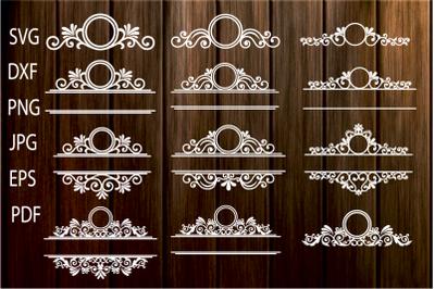 Mailbox Frame svg, Ornamental Split Frame SVG, Flourish