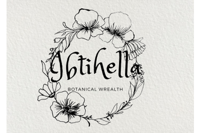 5 black botanical wreath