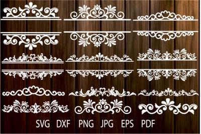 Floral Vintage Frames, Ornamental Split Frame SVG, Flourish