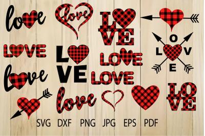 Buffalo Plaid Heart SVG, Plaid Love SVG, Valentine Heart