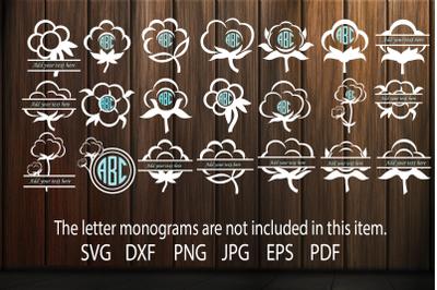 Cotton Boll Monogram Frames SVG, Cotton Flower svg, Cotton