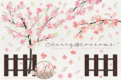Cherry Blossoms 04 Pink and Peach - Vector Clipart