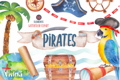 Pirates watercolor clipart set, Pirates Party