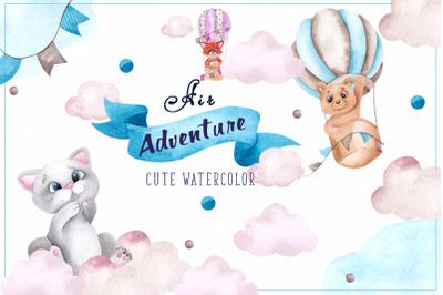 Air Adventure. Cute watercolor clipart