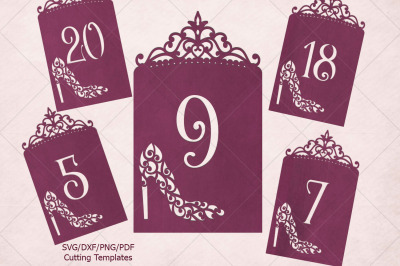 Wedding Table numbers svg dxf paper cut laser cut templates
