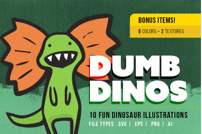 Dumb Dinos - 10pack - SVG | EPS | PNG | AI