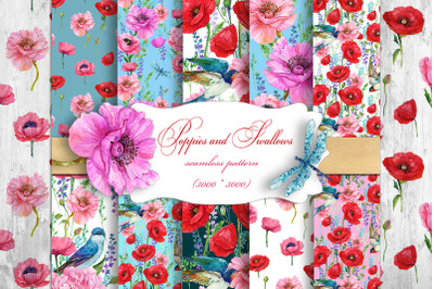 Poppies Flowers, Seamless patterns.Watercolor Flower