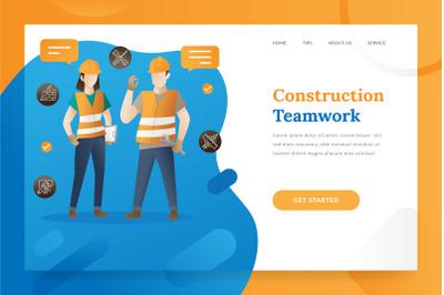 Construction teamwork landing page