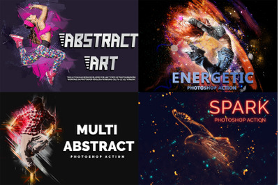4 in 1 Abstract Art Photoshop Actions Pack
