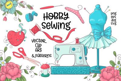 Hobby Sewing   vector clip art