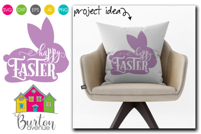 Happy Easter in Bunny - Easter SVG File