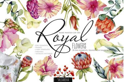 Royal flowers. Watercolor clip art.