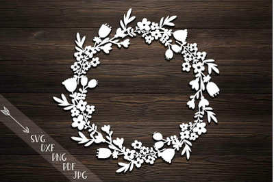 Rustic Monogram Flowers Wreath svg dxf paper laser cut template