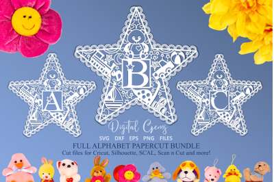 Alphabet kids star paper cut designs SVG / DXF / EPS / PNG Files