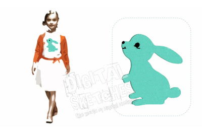 Bunny Machine Embroidery Design Animals Easter 4 Sizes