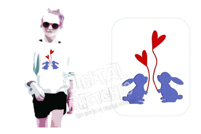 Bunny Heart Love Machine Embroidery Design 3 Sizes