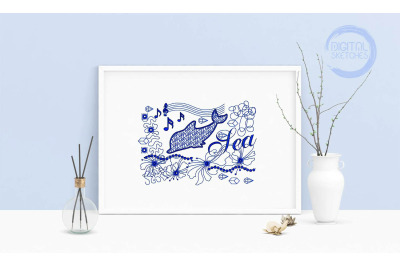 Machine Embroidery Design Saying Sea Dolphin Wall Decor Embroidery Art