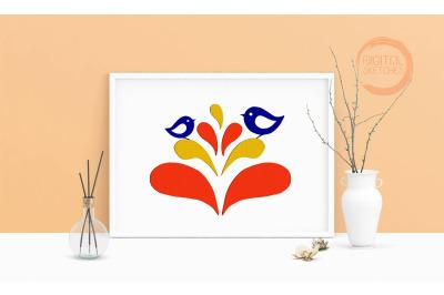 Machine Embroidery Design Birds Life Flowers Animals Wall Art 4 Sizes
