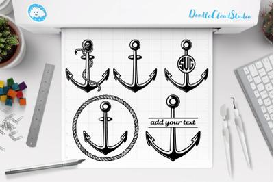 Anchor SVG, Rope Anchor, Anchor Monogram.