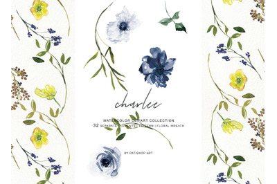 Watercolor Navy White and Yellow Flowers Clipart