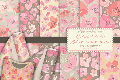Cherry Blossoms 04 Pink and Peach - Seamless Patterns