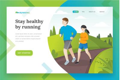 Running landing page illustration