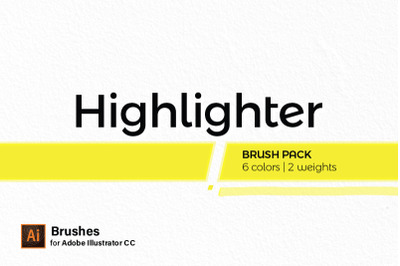 Illustrator Brush Pack - Highlighters | 6 colors | 2 weights