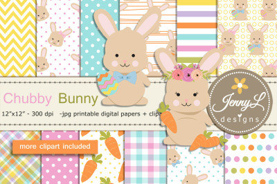 Easter Bunny Digital Papers and Rabbit Clipart