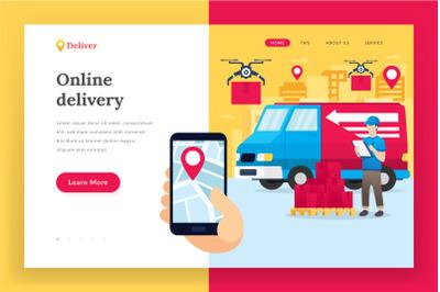 Online delivery service - landing page illustration